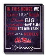 """Mississippi Rebels 16"""" x 20"""" In This House Canvas Print"""