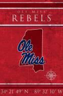 """Mississippi Rebels 17"""" x 26"""" Coordinates Sign"""