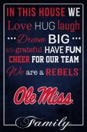 """Mississippi Rebels 17"""" x 26"""" In This House Sign"""