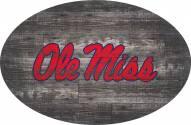"""Mississippi Rebels 46"""" Distressed Wood Oval Sign"""