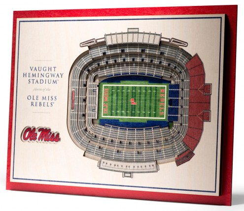 Mississippi Rebels 5-Layer StadiumViews 3D Wall Art