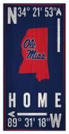 """Mississippi Rebels 6"""" x 12"""" Coordinates Sign"""