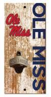 """Mississippi Rebels 6"""" x 12"""" Distressed Bottle Opener"""