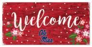 """Mississippi Rebels 6"""" x 12"""" Floral Welcome Sign"""