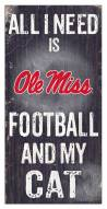 """Mississippi Rebels 6"""" x 12"""" Football & My Cat Sign"""