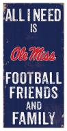 """Mississippi Rebels 6"""" x 12"""" Friends & Family Sign"""