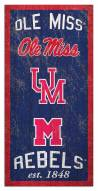 """Mississippi Rebels 6"""" x 12"""" Heritage Sign"""