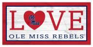 """Mississippi Rebels 6"""" x 12"""" Love Sign"""