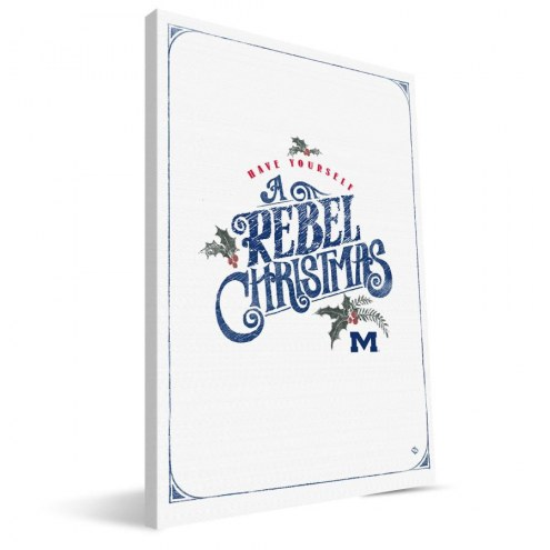 """Mississippi Rebels 8"""" x 12"""" Merry Little Christmas Canvas Print"""