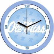 Mississippi Rebels Baby Blue Wall Clock