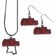 Mississippi Rebels Dangle Earrings & State Necklace Set
