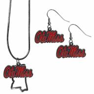 Mississippi Rebels Dangle Earrings & State Necklace Set