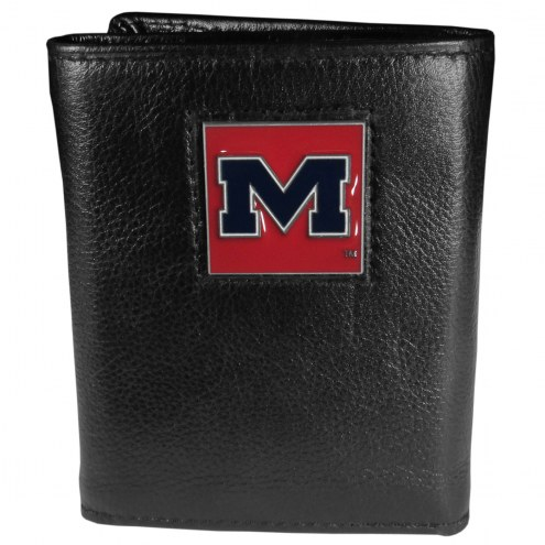 Mississippi Rebels Deluxe Leather Tri-fold Wallet in Gift Box