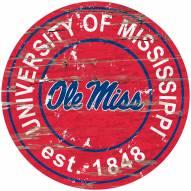 Mississippi Rebels Distressed Round Sign