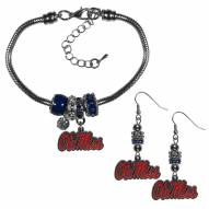 Mississippi Rebels Euro Bead Earrings & Bracelet Set