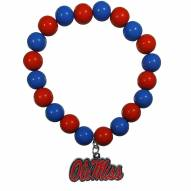 Mississippi Rebels Fan Bead Bracelet