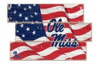 Mississippi Rebels Flag 3 Plank Sign