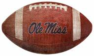 Mississippi Rebels Football Shaped Sign
