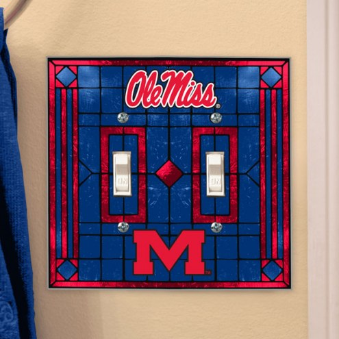 Mississippi Rebels Glass Double Switch Plate Cover