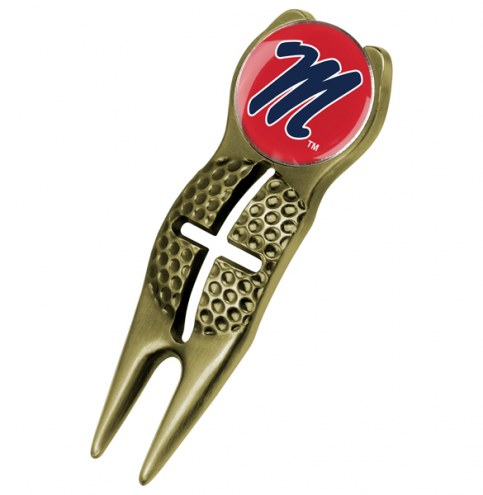 Mississippi Rebels Gold Crosshairs Divot Tool