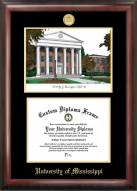 Mississippi Rebels Gold Embossed Diploma Frame with Campus Images Lithograph