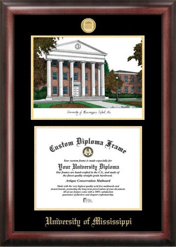 Mississippi Rebels Gold Embossed Diploma Frame with Lithograph