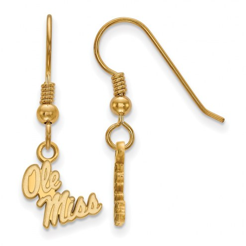 Mississippi Rebels Sterling Silver Gold Plated Extra Small Dangle Earrings