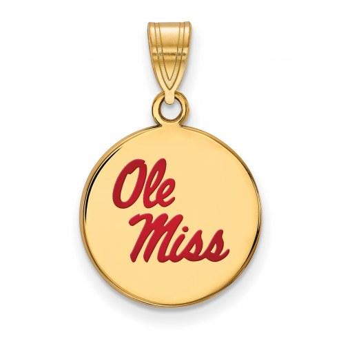 Mississippi Rebels Sterling Silver Gold Plated Medium Enameled Disc Pendant