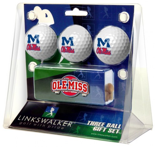 Mississippi Rebels Golf Ball Gift Pack with Slider Clip