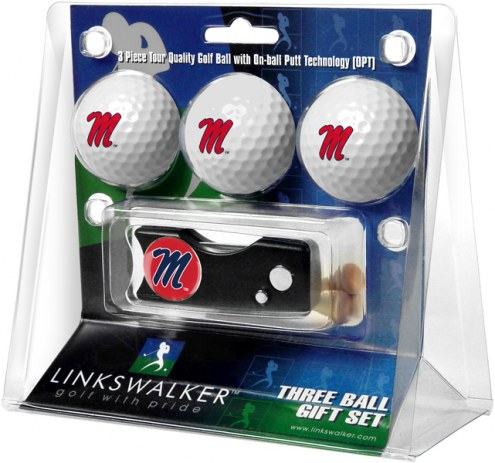 Mississippi Rebels Golf Ball Gift Pack with Spring Action Divot Tool