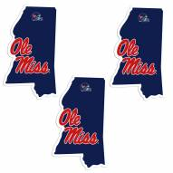 Mississippi Rebels Home State Decal - 3 Pack
