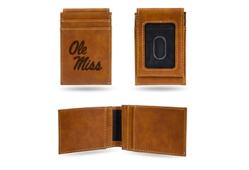 Mississippi Rebels Laser Engraved Brown Front Pocket Wallet