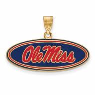 Mississippi Rebels Sterling Silver Gold Plated Medium Pendant