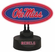 Mississippi Rebels Team Logo Neon Light