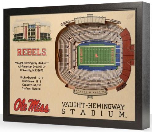 Mississippi Rebels 25-Layer StadiumViews 3D Wall Art