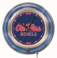 Mississippi Rebels Neon Clock