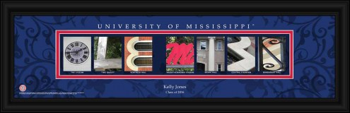 Mississippi Rebels Personalized Campus Letter Art