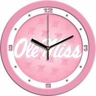 Mississippi Rebels Pink Wall Clock