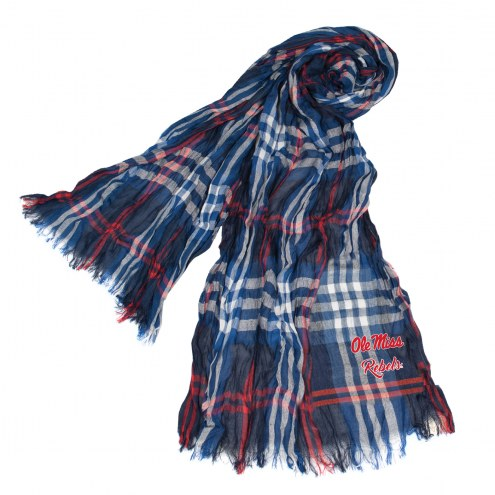 Mississippi Rebels Plaid Crinkle Scarf