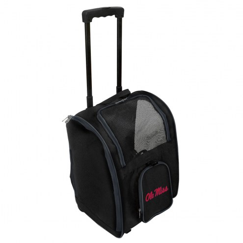 Mississippi Rebels Premium Pet Carrier with Wheels