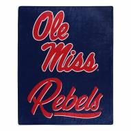 Mississippi Rebels Signature Raschel Throw Blanket