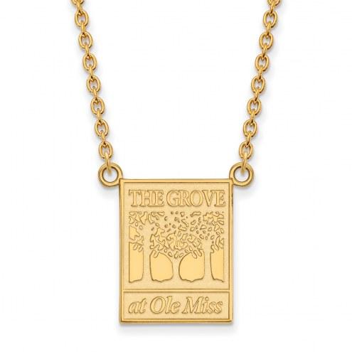 Mississippi Rebels Sterling Silver Gold Plated Large Pendant Necklace