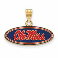 Mississippi Rebels Sterling Silver Gold Plated Small Enameled Pendant