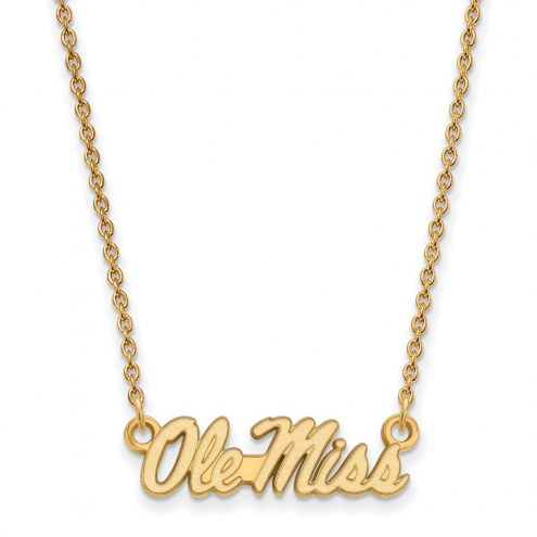 Mississippi Rebels Sterling Silver Gold Plated Small Pendant Necklace