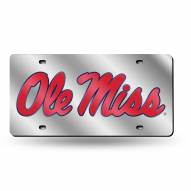 Mississippi Rebels Silver Laser License Plate