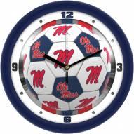 Mississippi Rebels Soccer Wall Clock