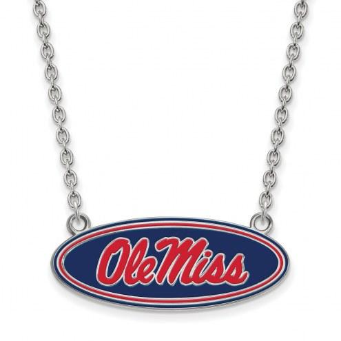 Mississippi Rebels Sterling Silver Large Enameled Pendant Necklace