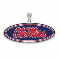 Mississippi Rebels Sterling Silver Large Enameled Pendant