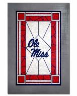 Mississippi Rebels Stained Glass with Frame