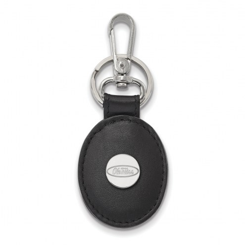 Mississippi Rebels Sterling Silver Black Leather Oval Key Chain